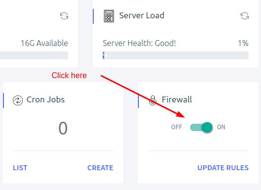 Turn on firewall using ServerAvatar