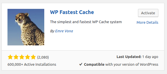 Wp fastest cache plugin