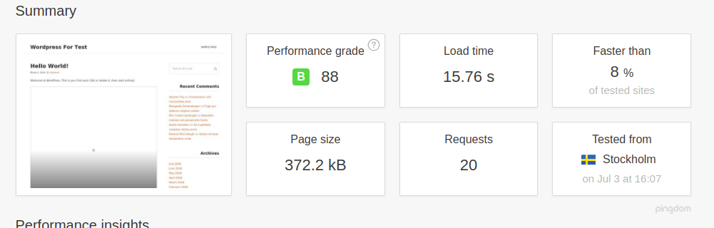 WordPress performance with No Caching plugin